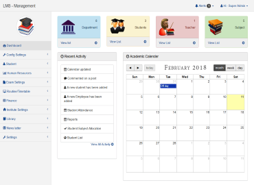 learning management dashboard